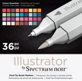 Spectrum Noir Illustrator 36 Pennen Set - Colour Essentials