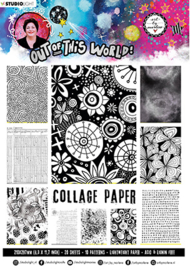 ABM-OOTW-PP15 ABM Collage Paper Pattern Paper Back & White Out Of This World nr.15