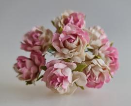 Wilde roos wit/roze 2,5 cm 5 stuks