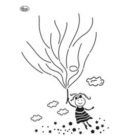 902206800 - Blob Paint, Universal-Schablone, Luftballon Mädchen A3