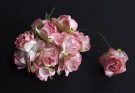 Wilde roos tweekleurig roze 2,5 cm 5 stuks