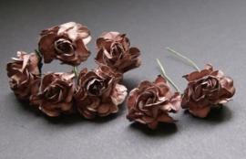 Wilde roosjes bruin 2,5 cm 5 stuks