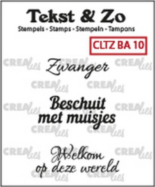 Crealies Clearstamp Tekst&Zo Baby 10 (NL) 33 mm CLTZBA10