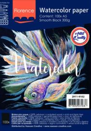 Florence • Aquarelpapier smooth Black A5 100pcs 300g  2911-9102