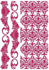 Stamperia Stencil A4 Romantic Journal Border and Texture (KSG458)
