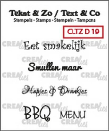 Crealies Clearstamp Tekst & Zo teksten eten (NL) CLTZD19 33mm