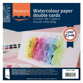 Florence • Aquarelpapier dubbel kaarten Smooth wit 11x22cm 50pcs