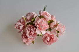 Wilde roos roze 2,5 cm 5 stuks
