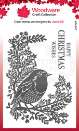 Woodware Clear Singles Lino Cut - Robin and Holly 4 in x 6 in Stamp JGS728