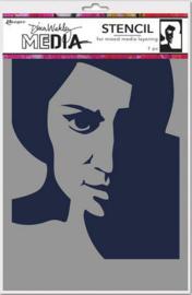 Ranger Dina Wakley Media Stencils Pensive Face MDS74861 Dina Wakley