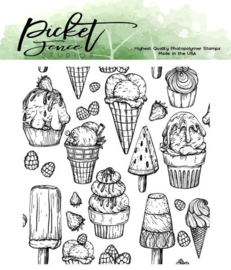 Picket Fence Studios Ice Cream Snacks 4x4 Inch Clear Stamps (T-114)