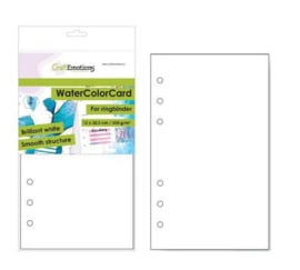 CraftEmotions WaterColorCard - bril. Ringband wit 10 vl 12x20,5cm - 350 gr - 6 Ring A5 3485