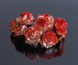 Roos 2 cm rood/wit 10 stuks
