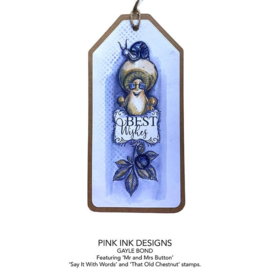 Pink Ink Designs Mr & Mrs Button A6 Clear Stamp PI113