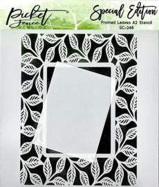 Picket Fence Studios Framed Leaves 6x6 Inch Stencil (SC-246)