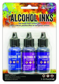 Ranger Alcohol Ink Ink Kits Indigo/Violet Spectrum 3x15 ml TAK69775 Tim Holtz