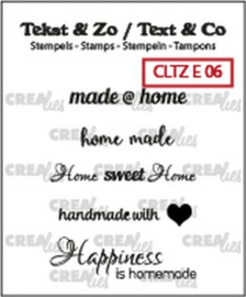 Crealies Clearstamp Tekst & Zo text home (ENG) CLTZE06 33mm