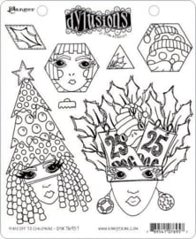 Ranger Dylusions Cling Stamp Set Hats Off To Christmas DYR76957 Dyan Reaveley