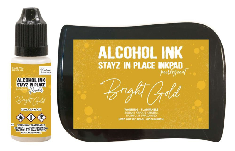 Couture Creations Stayz in Place Alcohol Ink Pearlescent Bright Gold Pad+Reinker (CO728167)