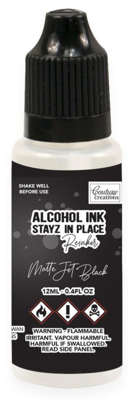 Couture Creations Stayz in Place Alcohol Ink Matte Jet Black (12ml) Reinker (CO728199)