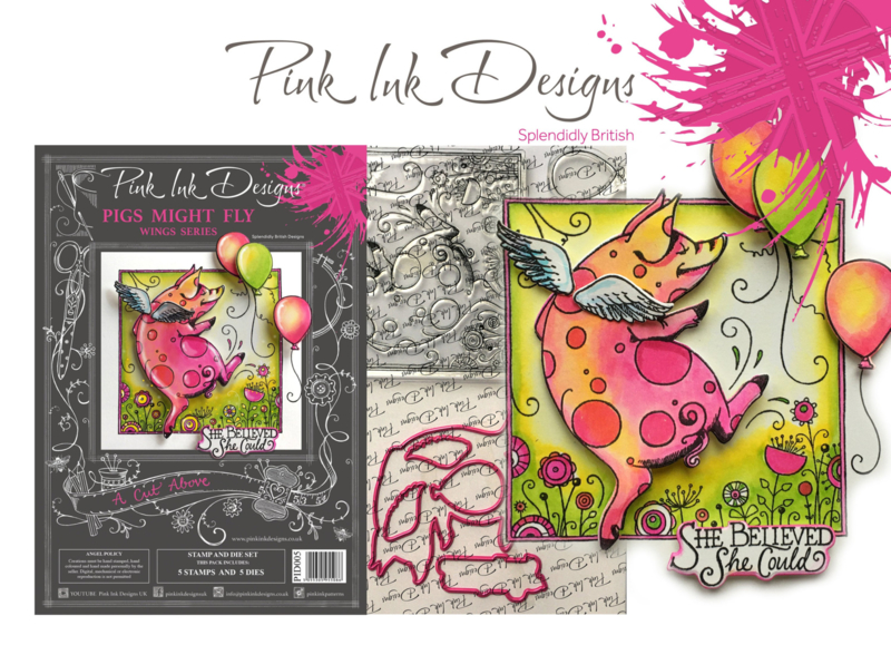 Pink Ink Designs A Cut Above Pigs Might Fly Stamp & Die Set