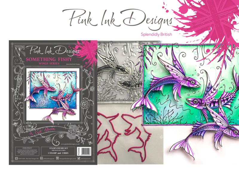 Pink Ink Designs A Cut Above Something Fishy Stamp & Die Set