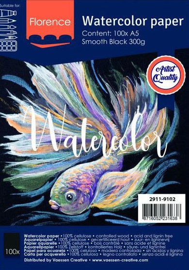 Florence • Aquarelpapier smooth Black A5 100pcs 300g