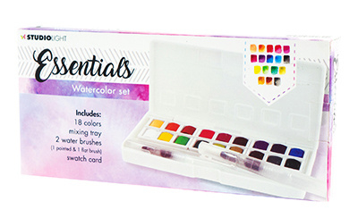 Aquarelset, 18 Colors and 2 Water Brushes Essentials nr.01 WCSL01