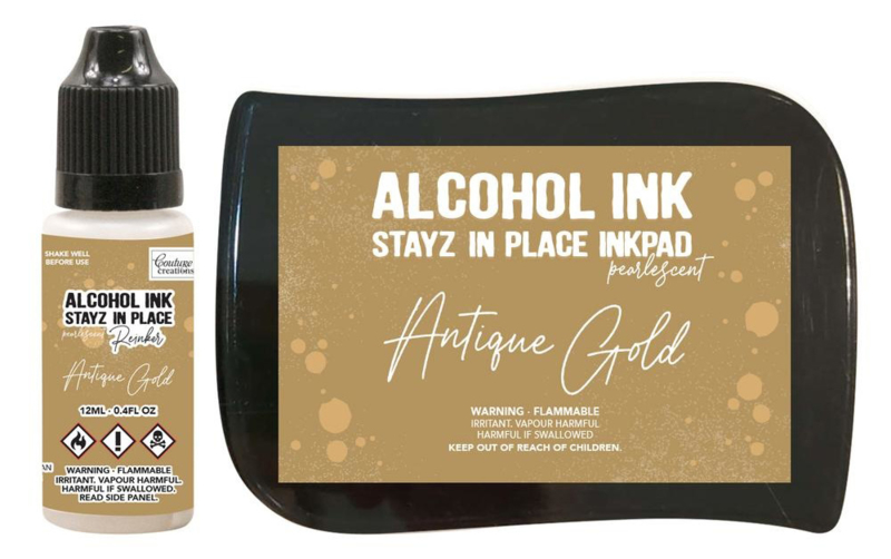 Couture Creations Stayz in Place Alcohol Ink Pearlescent Antique Gold Pad+Reinker (CO728166)