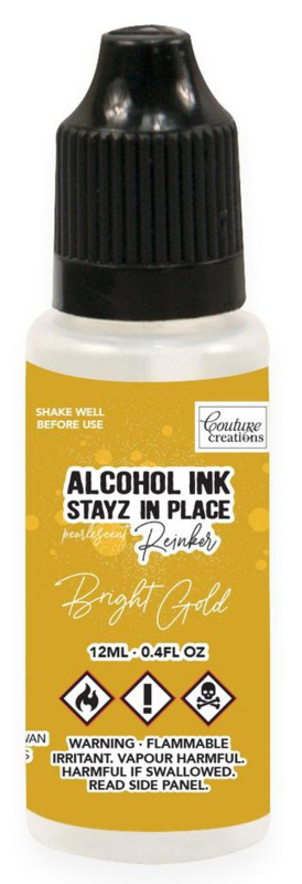 Couture Creations Stayz in Place Alcohol Ink Pearlescent Bright Gold (12ml) Reinker (CO728205)