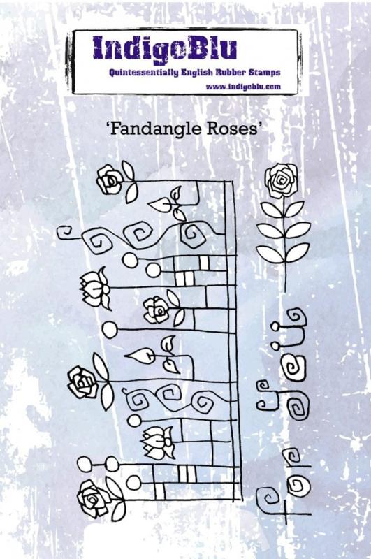 IndigoBlu Fandangle Roses A6 Rubber Stamp (IND0605)