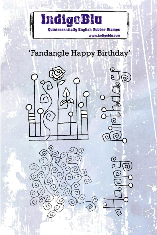 IndigoBlu Fandangle Happy Birthday A6 Rubber Stamp (IND0607)
