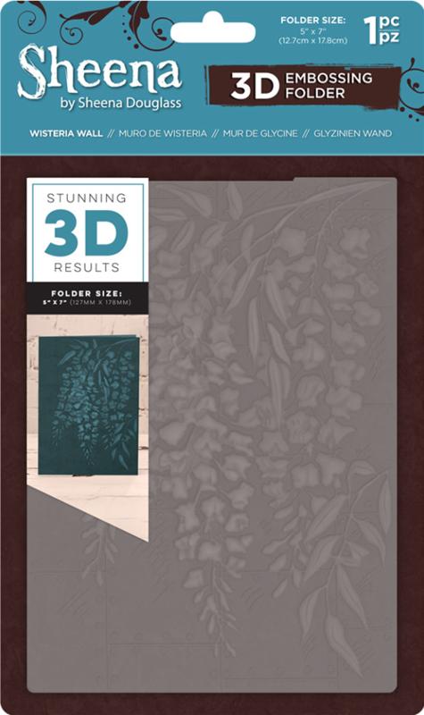 """Sheena Douglass 5""""x7"""" 3D-embossing folder - Wisteria Wall"""
