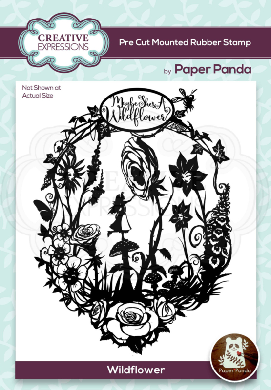 Creative Expressions Paper Panda Wildflower 4.0 in x 5.2 in Pre Cut Rubber Stamp CERPP005