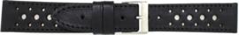 Horlogeband Universeel 828.01 Leder Zwart 20mm