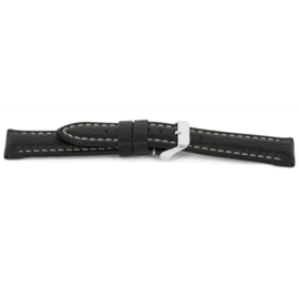 Horlogeband Universeel I018-XL Leder Zwart 24mm-KXL43