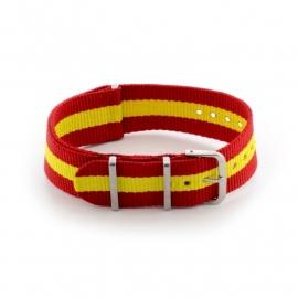 Nato horlogeband rood / geel  22mm md1001.17