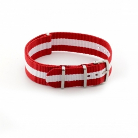 Nato horlogeband rood / wit 20mm md1004.45