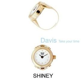 Ring horloge wit / grijze wijzerplaat met aanduiding Davis 4180