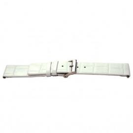 Horlogeband Universeel I520 Leder Wit 24mm-K304