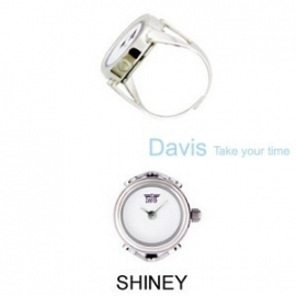 Ring horloge witte wijzerplaat zonder aanduidingen Davis 4181