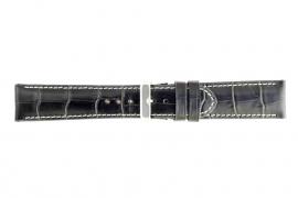 Echt lederen horloge band croco zwart 36mm WP-61324.1