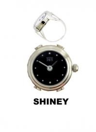 Ring horloge zwarte wijzerplaat met aanduidingen Davis 4189