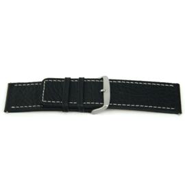 Horlogeband Universeel L125 Leder Zwart 30mm-K331