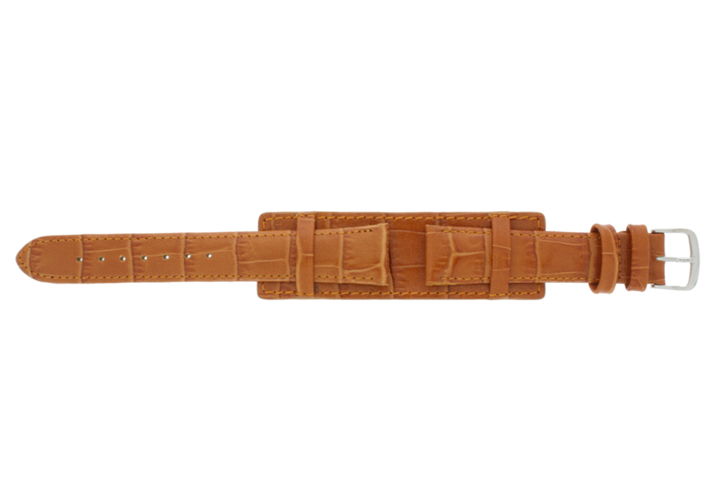 Echt lederen onderliggende band cognac bruin 18mm 61325.75.18-9