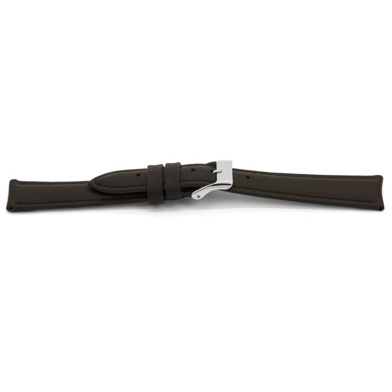 Horlogeband Universeel F346 Leder Donkerbruin 18mm-K162