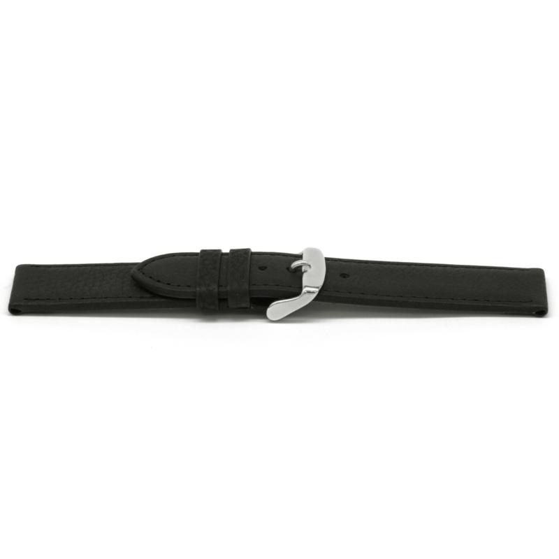 Horlogeband Universeel G129 Leder Zwart 20mm-K197