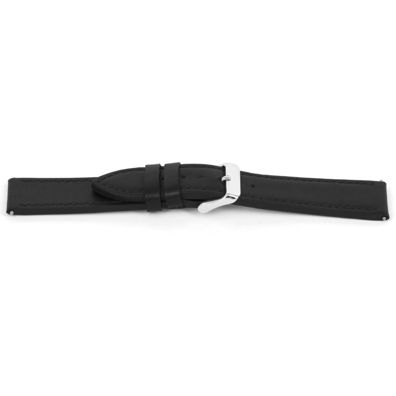 Horlogeband Universeel I143 Leder Zwart 24mm-K283