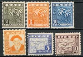 Andorra Sp., michel 52/57 , 1951