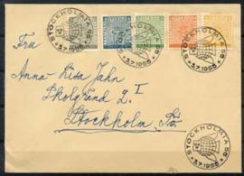 Zweden, michel 406/10 op brief, 1955